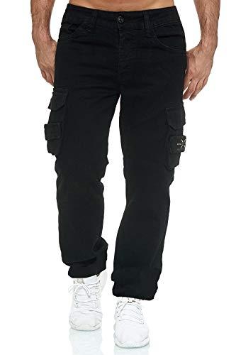 EGOMAXX Herren Cargo Jeans Hose Übergröße Funktions Seiten Taschen Outdoor Vintage Over Size Jaylvis, Farben:Schwarz, Größe Jeans:36W