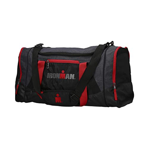 IRONMAN 24 Inch Large Sports Duffle Gym Bag with Floating Shoe Pocket (Red)