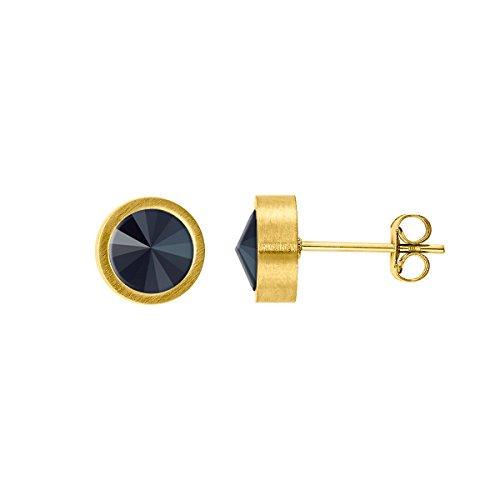 Heideman Ohrringe Damen Coma aus Edelstahl gold farbend matt Ohrstecker für Frauen mit Swarovski Stein Kristall jet schwarz im Fantasie Edelsteinschliff 6mm