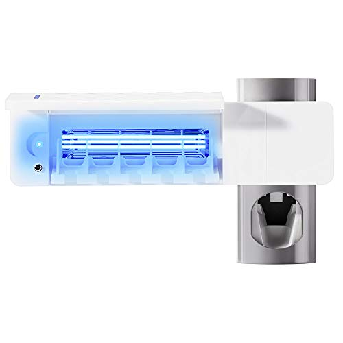 XIANNVV Porta Spazzolini da Bagno, Porta Spazzolino Elettrico Sterilizzatore UV, Kit Dispenser di Dentifricio a Parete, Alimentato Tramite USB