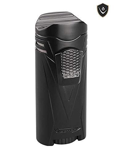 Vector Iron Quad 04 Black Matte Quad Flame Windproof Jet Lighter for Cigars