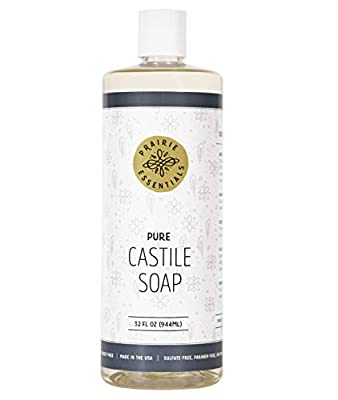 Prairie Essentials Castile Soap Liquid Unscented 32oz Bottle - Sulfate, Paraben, Cruelty and Dye Free - Pure Castile Liquid Soap Made with Natural Ingredients and Certified Organic Shea Butter
