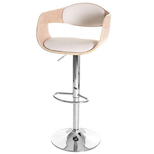 Mendler Barhocker HWC-A47, Barstuhl, Holz Bugholz Retro-Design - Buche-Optik, Kunstleder Creme