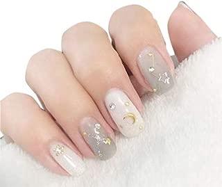 TBOP NAIL STICKER easy quick nail art polish 14 pcs set star moon print sticker grey & white color