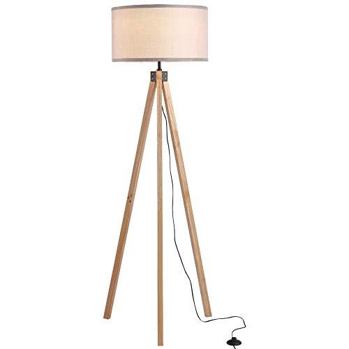 HOMCOM 5FT Elegant Wood Tripod Floor Lamp Free Standing E27 Bulb Lamp Versatile Use For Home Office - Grey