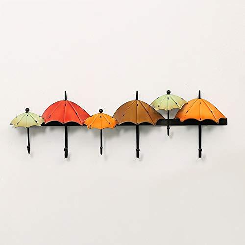Shve Style méditerranéen Vintage en fer forgé décoration crochet, Nordic Fashion Creative forme de parapluie forme crochet mural au rangée, pratique antirouille étanche porche chambre salon crochet mu