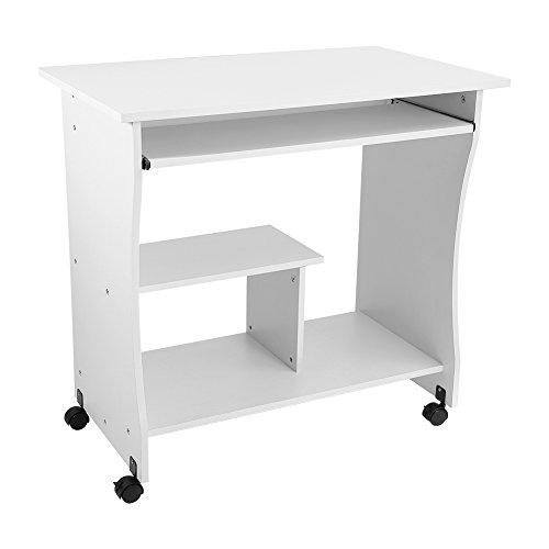 Ejoyous Escritorio para computadora, Mesa para computadora portátil Cuenta con Ruedas Larga Vida útil para Habitaciones compartidas para Habitaciones pequeñas