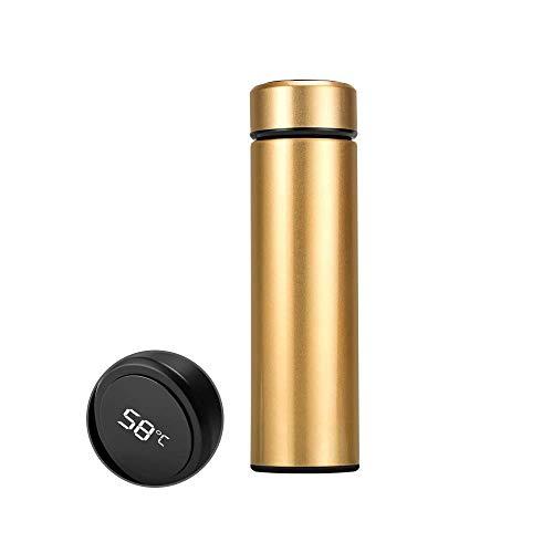 Ajcoflt 500 ml Vakuum Thermoskanne LED Temperaturanzeige Wasserflasche Edelstahl Doppelwandige Isolierte Tasse Intelligente Reise Thermoskanne Tasse Kaffeetassen (Golden)