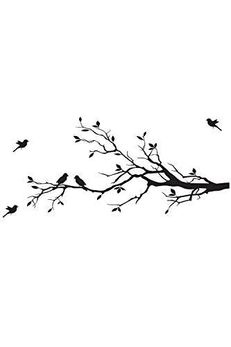 SMTD Lebendige Ast Vögel Wandaufkleber Abnehmbare Wohnzimmer Schlafzimmer Abziehbilder DIY Kunst Dekoration Schmutzabweisend Wandtattoo