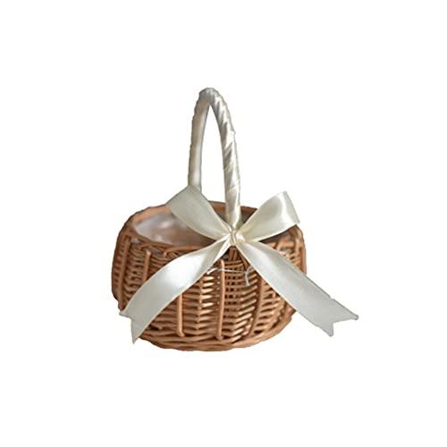 BSTCAR Flechtkorb, Einkaufskorb Geflochten Korb Geflochten Geschenk Körbchen Weidenkorb für Picknicks, Wandern, Camping, Familientreffen