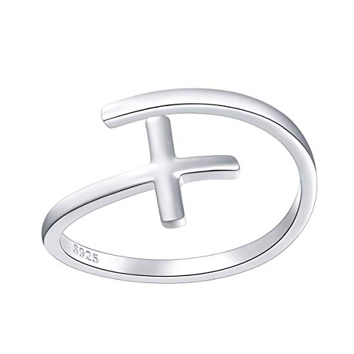DAOCHONG Cross Open Ring Sterling Silver Adjustable Cross Wrap Open Ring Band Gift for Women
