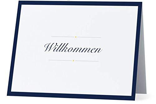 Grußkarte Willkommen Schrift blau