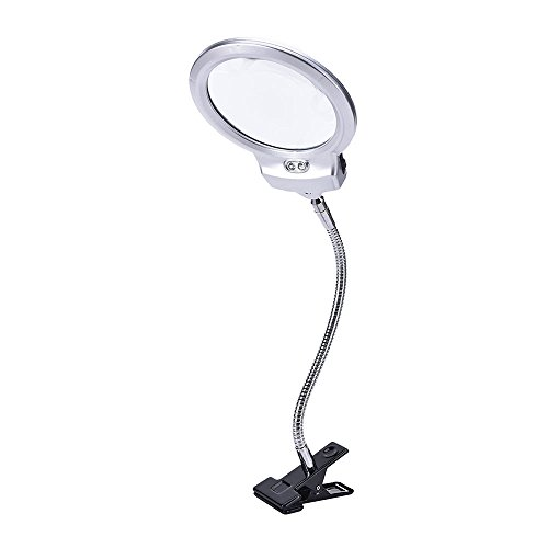 Clip-on Magnifier, KKmoon New Lighted Clip-on Table Top Desk LED Lamp Reading 2.5X 5X Magnifier Large Lens Magnifying Glass with Clamp