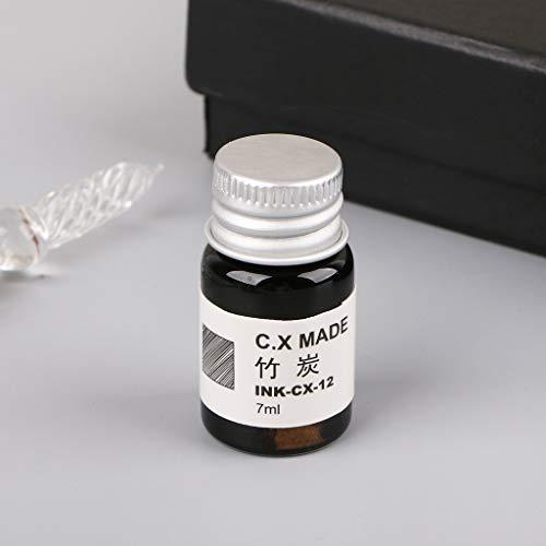 MEIYIN 12pcs Gold Powder Colored Bottled Glass Dip Pen Ink Set Fountain Writing Signature Box Gift 7ML