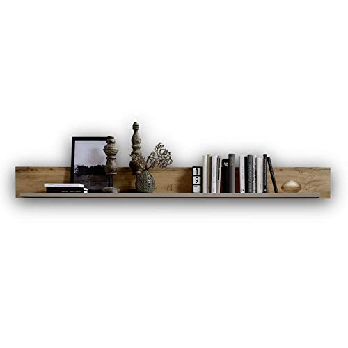 Stella Trading FUN PLUS 2 Wandboard in Eiche-Optik & Basalt Dekor - hochwertiges & vielseitig einsetzbares Wandregal - 180 x 18 x 22 cm (B/H/T)