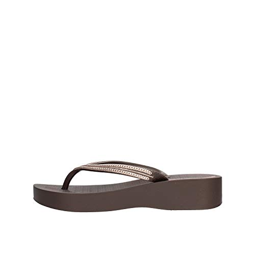 Ipanema Brown Mesh Wedge Flip Flop 41/42 EU Braun