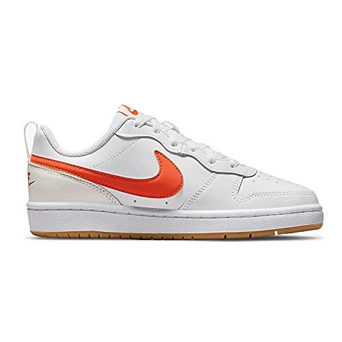 Nike Court Borough Lo2 (GS), Basket, White/Orange-Summit White-sail, 35.5 EU