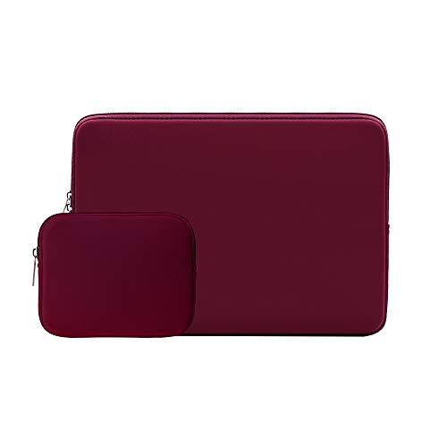 RAINYEAR 15.6 Inch Laptop Sleeve Protective Case Soft Carrying Zipper Bag Cover with Accessories Pouch, Compatible with 15.6' Notebook Computer Ultrabook Chromebook(Red)