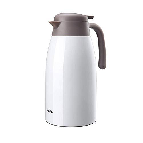 Household Products - Pote de café 2l Juguete de vacío de Acero Inoxidable de Acero Inoxidable Jugo Aislado/Leche/Mileta de Aislamiento de té con botón de Prensa (Color: Blanco, tamaño: 2L) / Códig