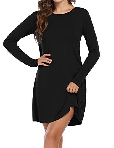 Clearlove Damen T-Shirt Kleid Casual Tunika A-Linie Langarm/Kurzarm Rundhals Freizeitkleid (Verpackung MEHRWEG), Langarm-Schwarz-1, M
