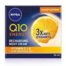 NIVEA Q10 Energy Recharging Face Night Cream (50 ml), Energising Night Cream for Women, Hydrating Night Face Cream, Recharging Face Cream with Vitamin C and Q10