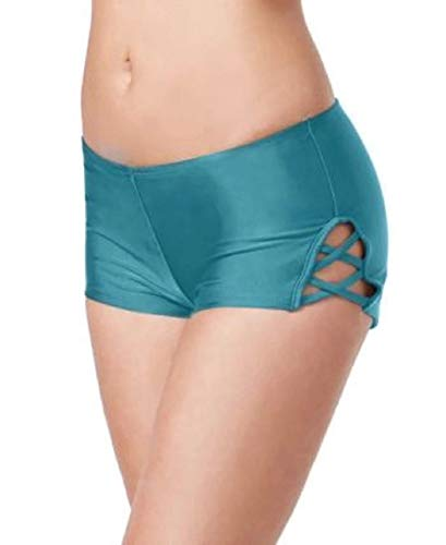 Hula Honey Strappy Swim Boy Shorts (Small) Green
