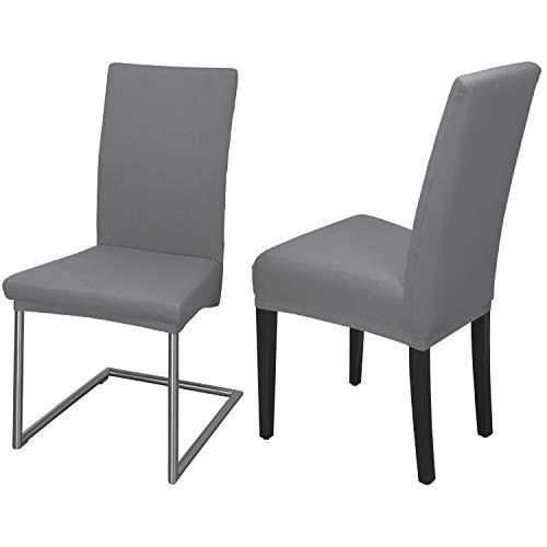 Staboos Juego de 2 fundas para silla, 96% algodón, bielásticas, universales, lavables y no necesitan planchado, color piedra