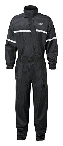 JDC Traje Impermeable Moto Lluvia Sobre Traje 1PC 1 Pieza - SHIELD - Negro - XXL - Largo Regular