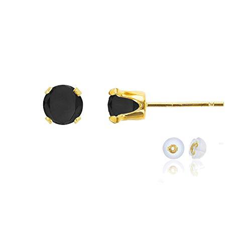 Genuine 10K Solid Yellow Gold 5mm Round Black Onyx Birthstone Stud Earrings