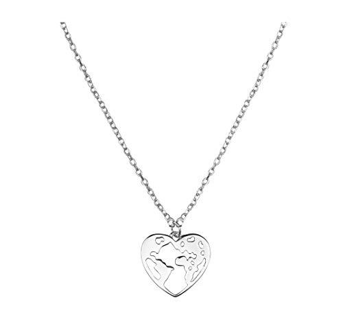 SOFIA MILANI - Damen Halskette 925 Silber - Globus Weltkarte Herz Anhänger - 50268