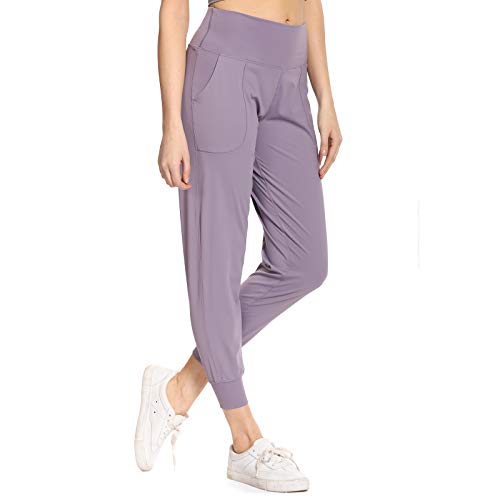 Ritiriko Women's Joggers with Pockets, High Waist Full-Length Yoga Pants for Running Workout Lounge Sweatpants, Lavender, Small
