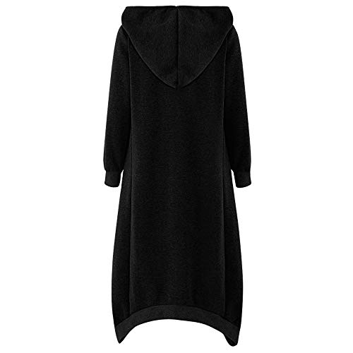 Women Girls Long Cardigan Hoodie Ladies Hooded Plain Sweatshirt Jumper Tops Coat Plus Size 8-22 UK Black