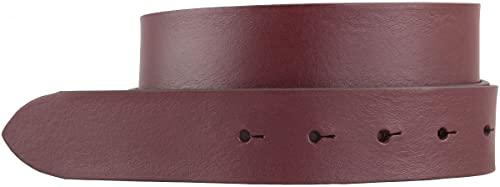 Wechselgürtel aus Vollrindleder ohne Schnalle 3,5 cm   Druckknopf-Gürtel für Damen Herren 35mm   Leder-Gürtel 3.5cm   Bordeaux 110cm