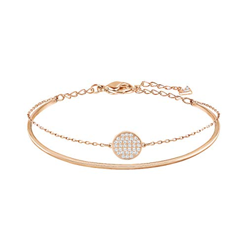 Swarovski Women's Ginger Bangle Bracelet, Stunning Rose-Gold Tone Bangle Bracelet with Crystals and Chain, from the Swarovski Ginger Collection