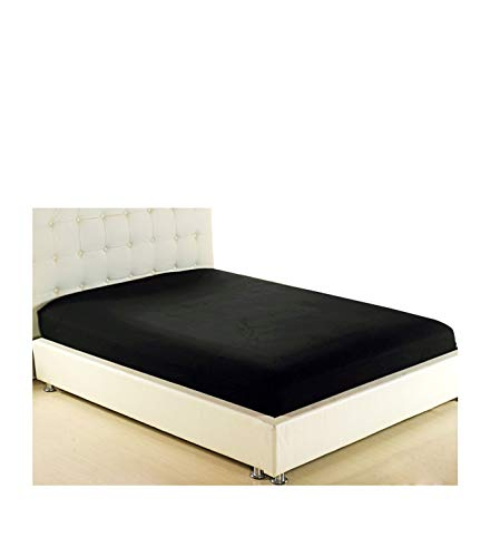 ZYLASTORE Bed Sheet Fitted Sheets On Elastic Band Bed Mattress Cover 160X200 Bedsheet Bedding White Black Gray Bed Linen 150 180 200 90,Black,160X200 Deep 30Cm