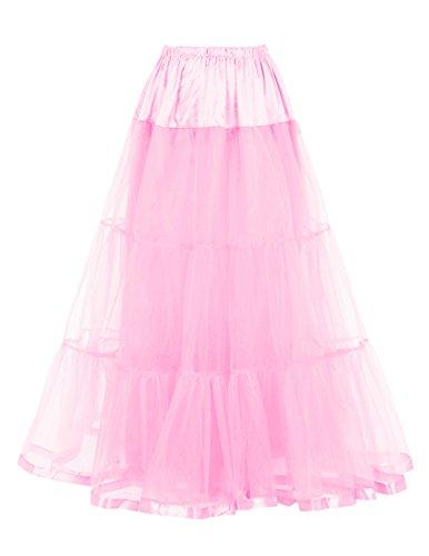 DRESSTELLS Retro Ankle Length Petticoat Crinoline Underskirt for Long Dress Pink S-M