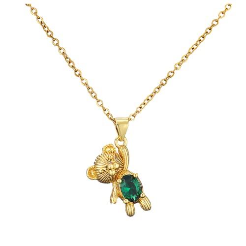 Collar personalizado, collar lindo colgante, colgante de oso de moda, chapado en oro de 18 quilates, adecuado para cualquier ocasión