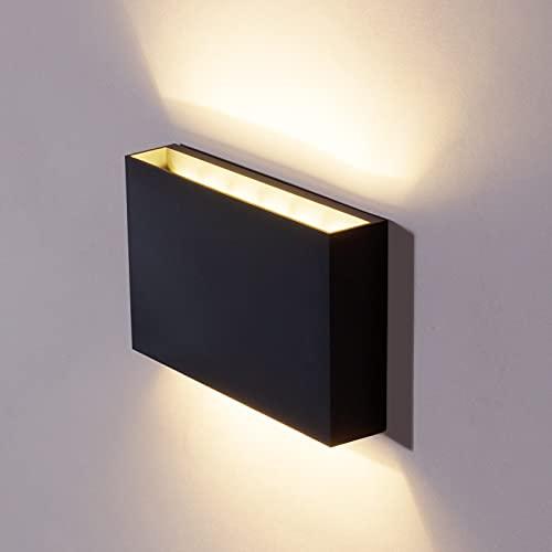 DAWALIGHT Lámpara de pared exterior de 12 W, resistente al agua, IP65, decorativa, 3000 K, luz blanca cálida, luz LED de pared, color gris oscuro, para interior y exterior, plástico