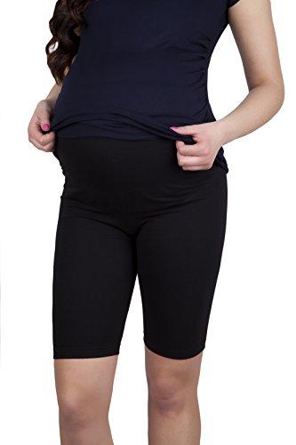 Mija - Komfortable Kurze Umstandsleggings für Schwangere Shorts 1/2 Leggings 4008 (L, Schwarz)