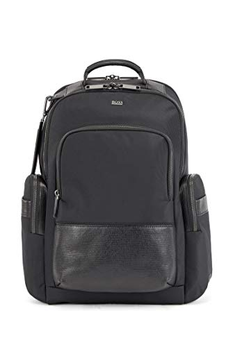 BOSS Mens First Class Backpack Multi-Pocket Backpack with Monogram Address tag Size One Size
