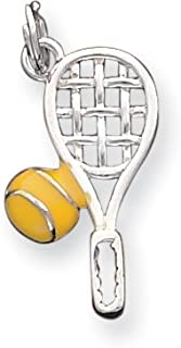 GemStorm Silver Plated Dangling Tennis Raquet /& Ball Clip On Lobster Clasp Charm