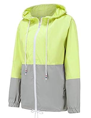 LOMON Women's Lightweight Waterproof Raincoat Active Outdoor Windproof Hooded Rain Jacket Green XXL