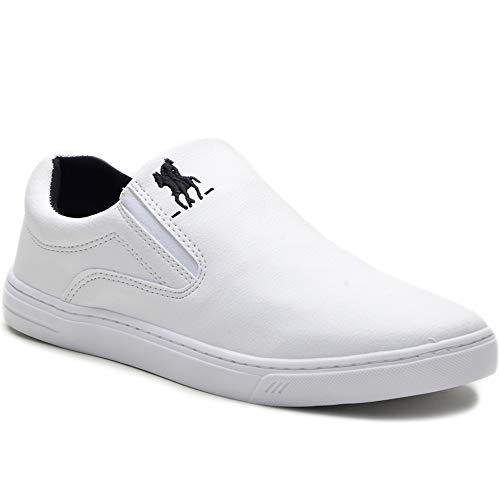 Tênis Slip On Casual Polo Plus Masculino Solado Tr Almofadado Cor:Branco;Tamanho:37