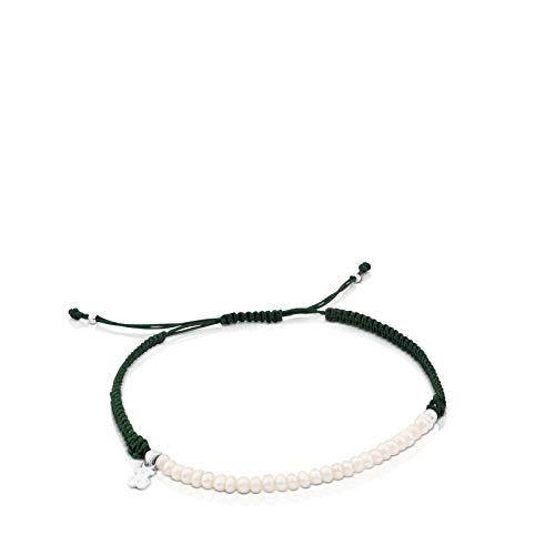 TOUS Pulsera Color de Plata, Perla y Cordón en Color Verde