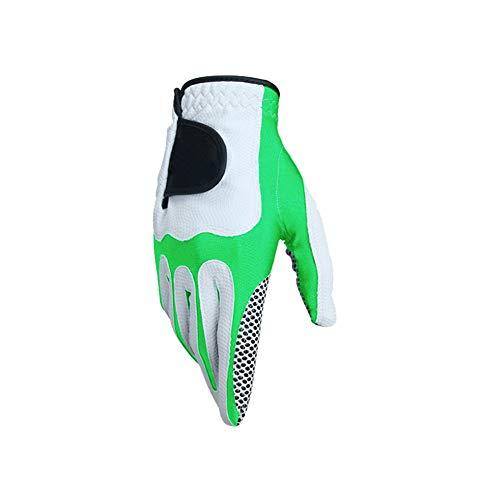 Binglinghua Herren Golfhandschuhe, Sport, schweißabsorbierende Mikrofaser-Handschuhe, weich, atmungsaktiv auf der linken Hand, grün, L