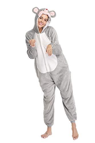 Pijama de ratón gris para adultos, hombres, mujeres, pijama, color gris, lindo animado, disfraz de cosplay Gris gris 90