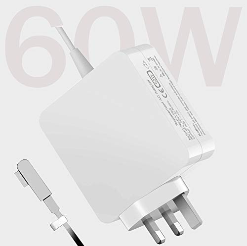 Mac Book Pro Charger, AC 60W (L-Tip) Power Adapter, 60W Mac Charger L-Tip Magnetic Connector Compatible for Mac Book Pro 13-Inch(Before Mid 2012 Models)
