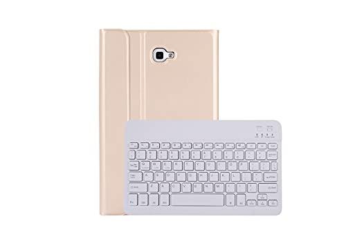 Teclado con Galaxy Tab A 10.1 Funda, Tianta Funda con Inalámbrico Bluetooth Desmontable Soporte Plegable Cuero Delgado Inteligente Protectora para Samsung Galaxy Tab A 10.1 2016 / SM-T580/T585 - Oro