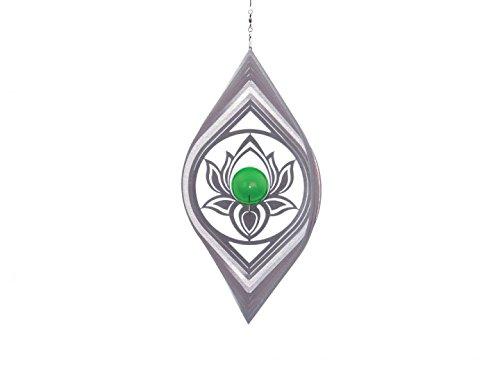 Illumino Edelstahl-Windspiel Lotos mit smaragdgrüner 35mm Glaskugel