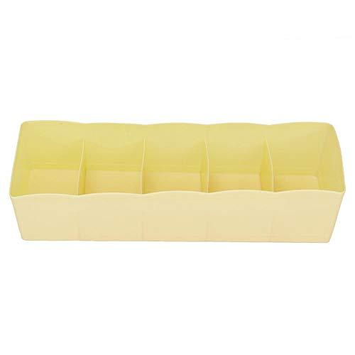 Omabeta Divisor de cajón de 5 Rejillas, fácil de Limpiar, ecológico para el hogar(Yellow)
